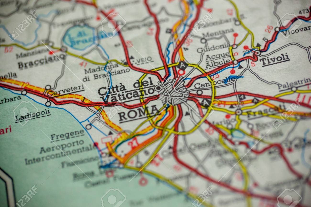 Rome, Italy is the center of focus on an old map.
