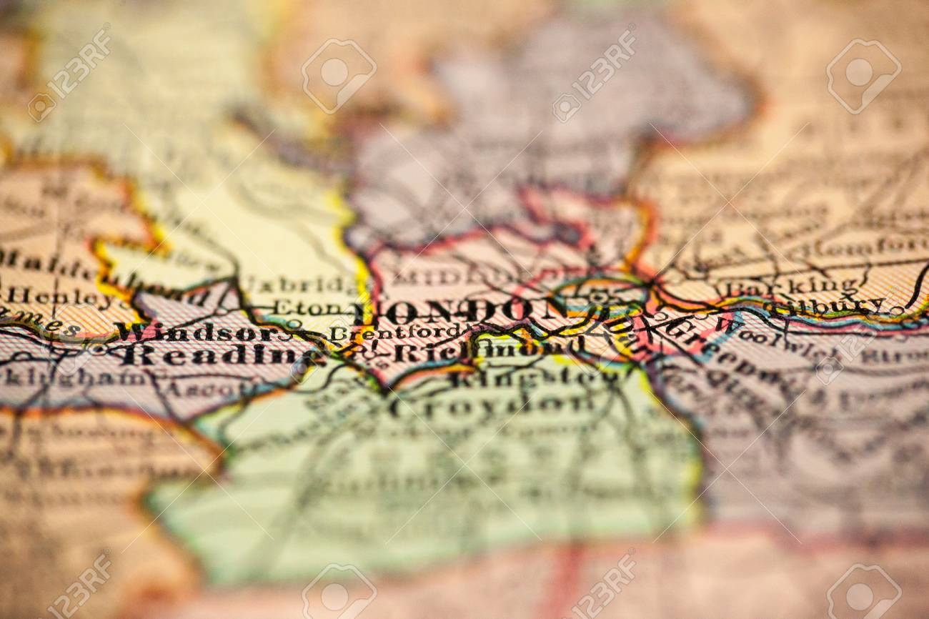 Map Of England Vintage.London England Is The Point Of Focus On A Vintage Map Stock Photo