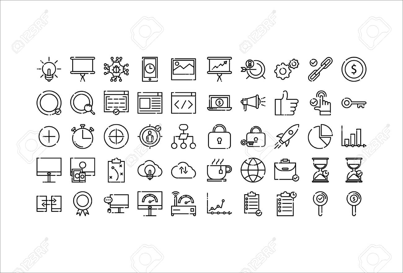 icon set web business with outline style - 142293248