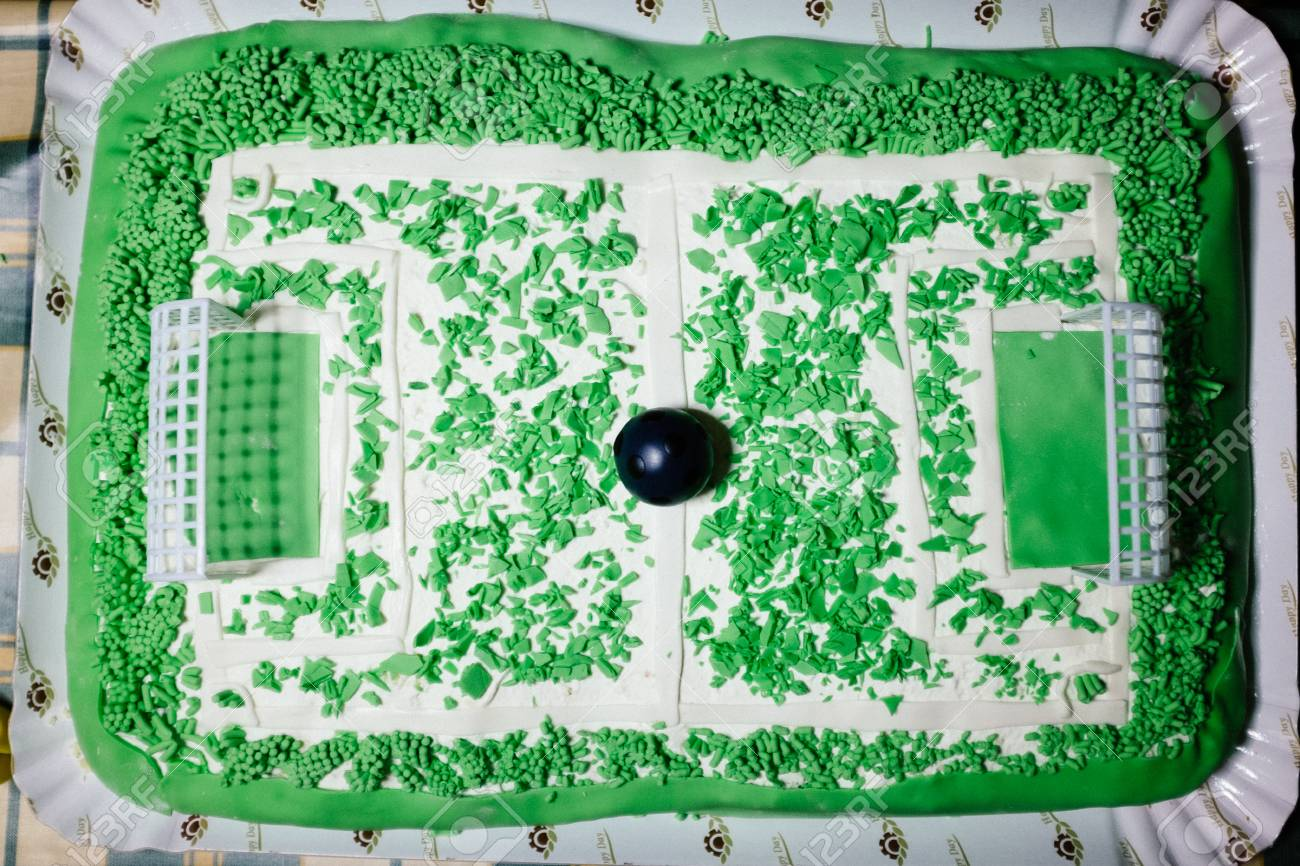 Terrific Cake Preparation In The Form Of A Soccer Field Stock Photo Funny Birthday Cards Online Aboleapandamsfinfo