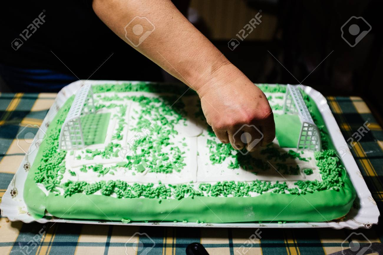 Amazing Cake Preparation In The Form Of A Soccer Field Stock Photo Funny Birthday Cards Online Aboleapandamsfinfo