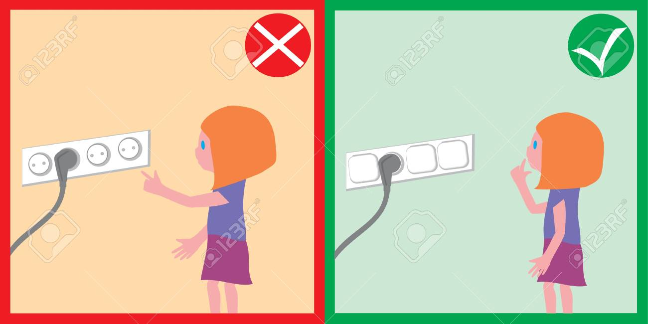 Children Safety Electrical Safety Families Childrens Safety Royalty Free Cliparts Vectors And Stock Illustration Image 115115379