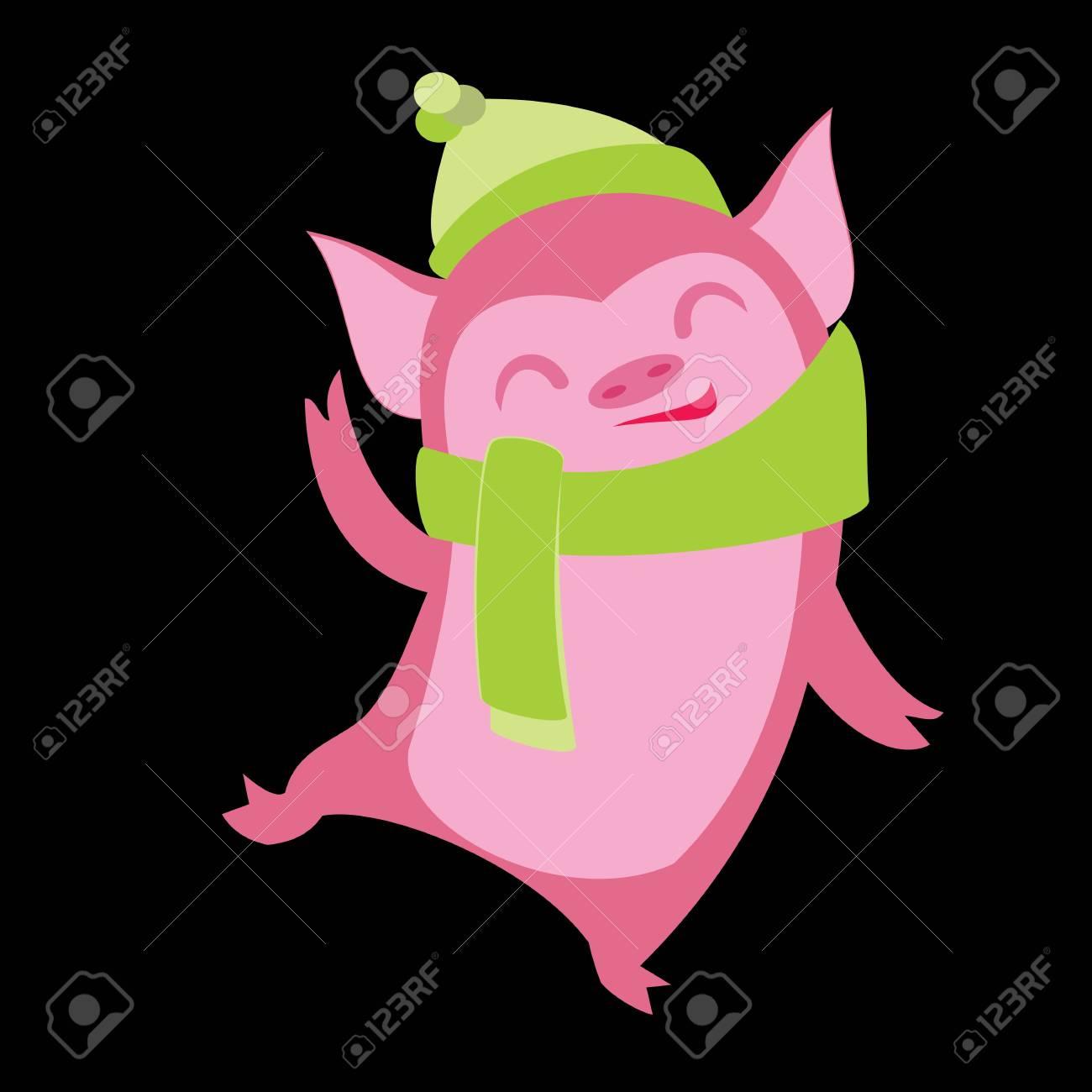 funny pig characters cartoon winter illustration of farm animals