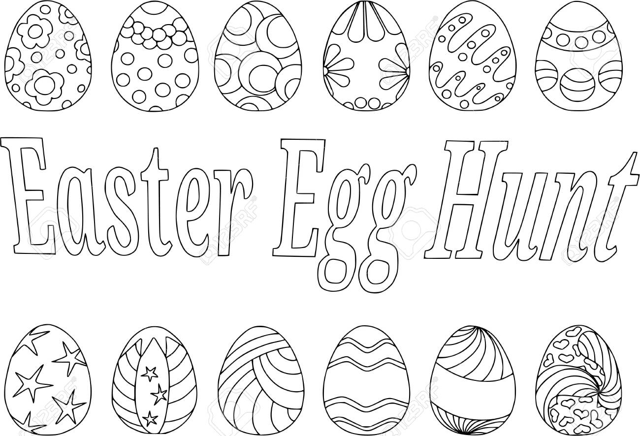Coloring easter eggs, Vector pattern isolated on white background,..