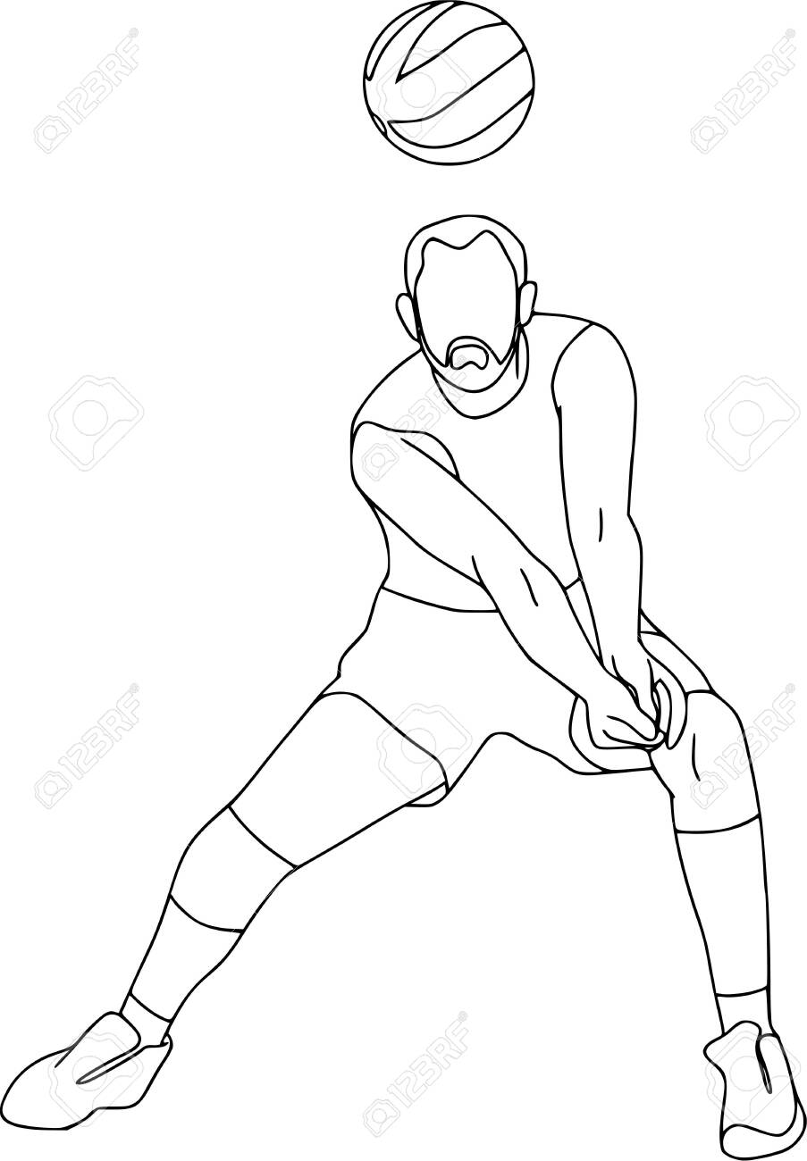Set Of Six Vector Cartoon Character Of Sportsman Playing Volleyball Royalty Free Cliparts Vectors And Stock Illustration Image 127874095