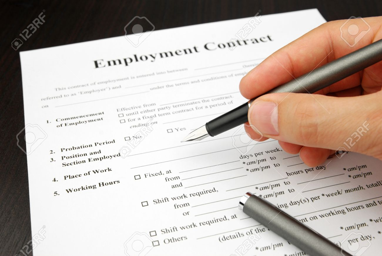 employment contract form human hand pensigning stock photo stock photo employment contract form human hand pensigning