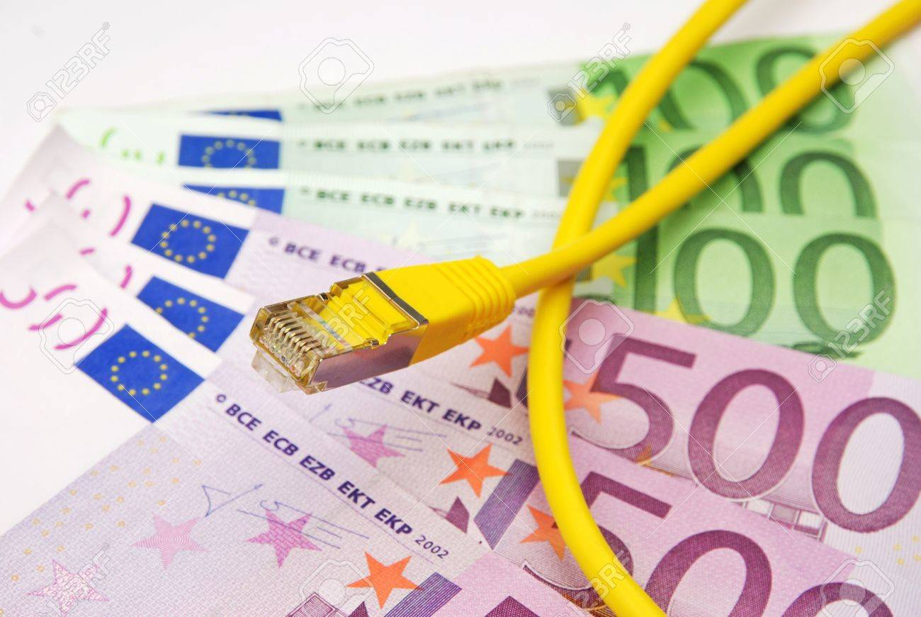 Stock Photo Earn Money In The Web With Lan Cable And Euro Currency