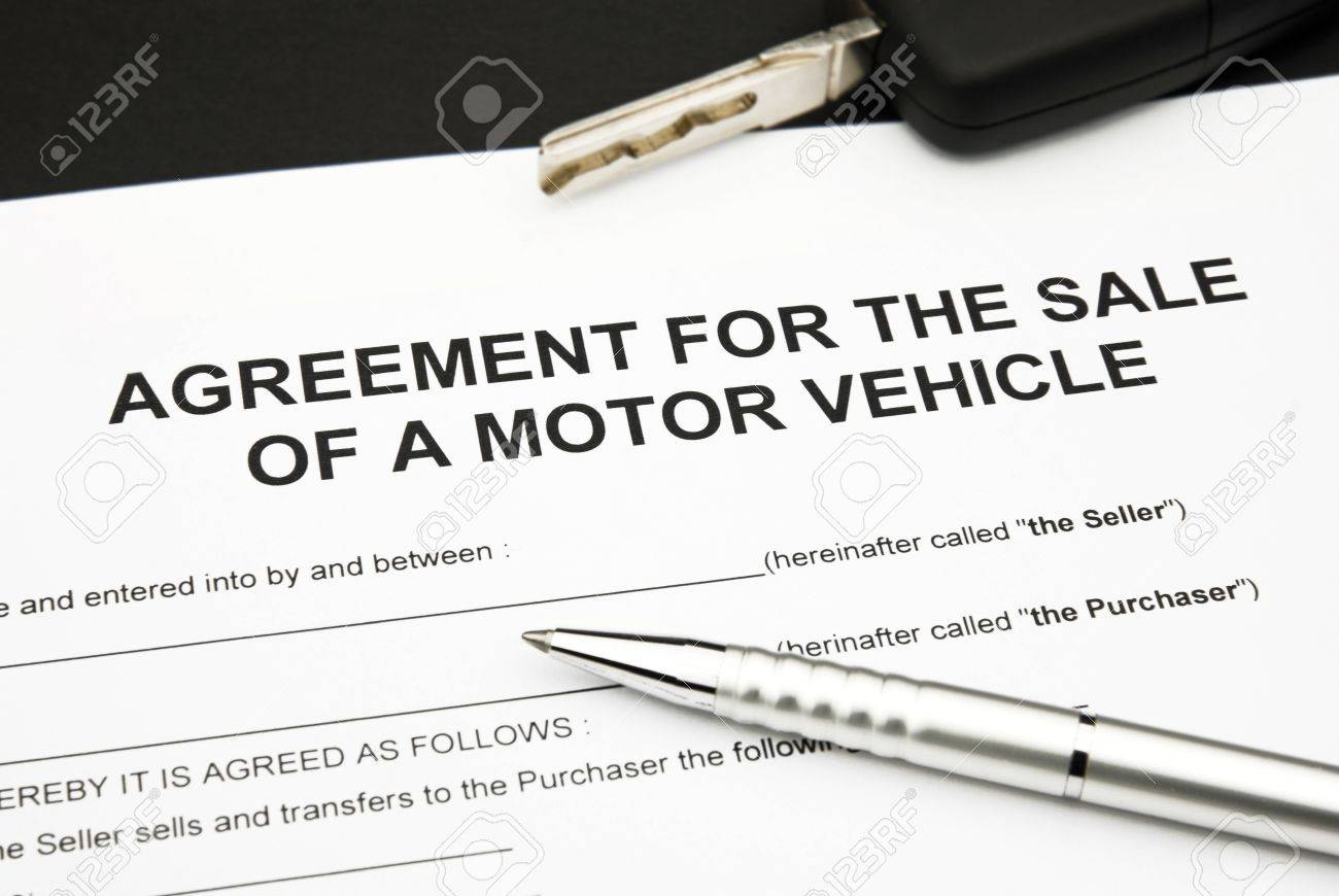 Agreement Document For Sale Of A Motor Vehicle With Car Key And – Vehicle Agreement of Sale