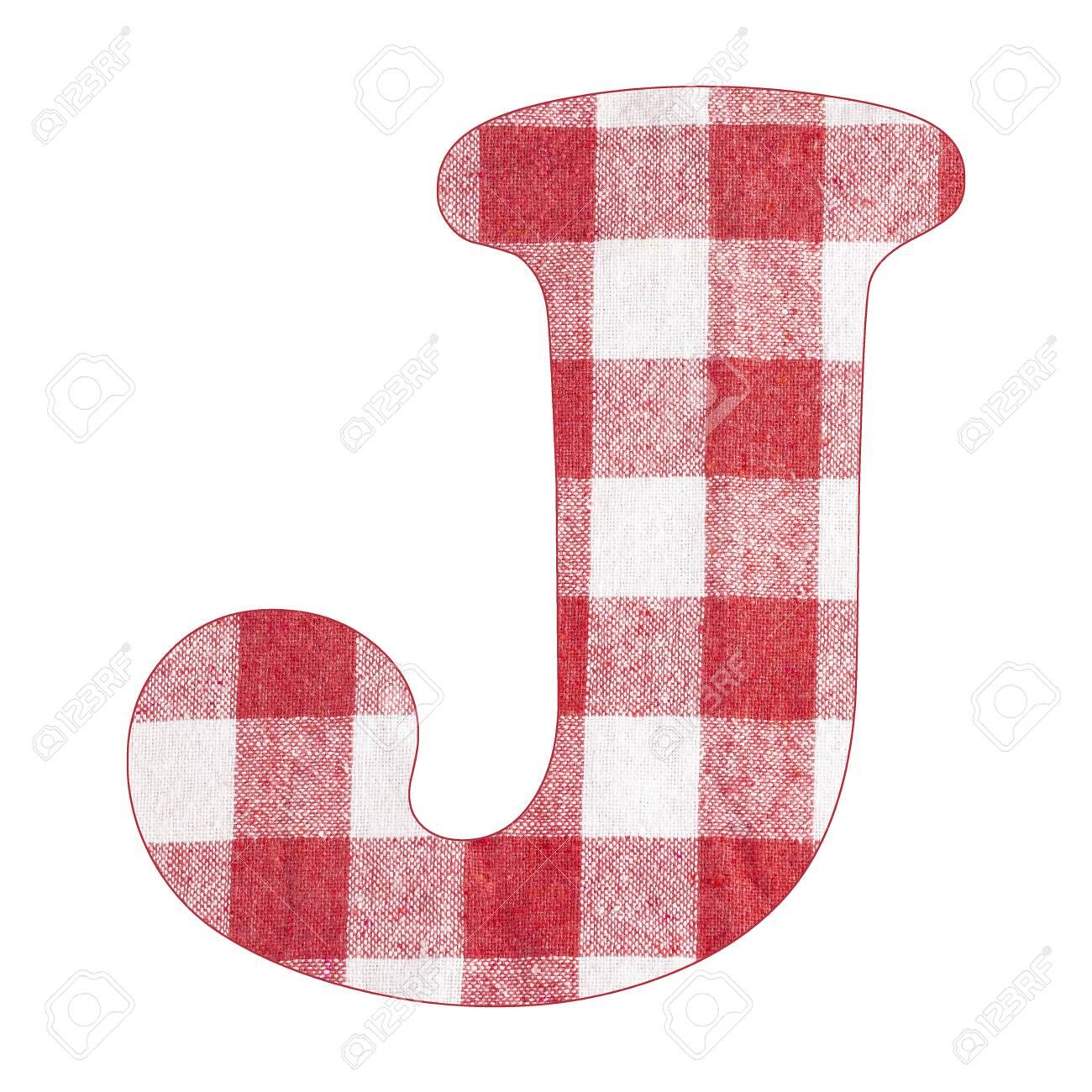 Letter J - Red checkered napkin background - 141712048