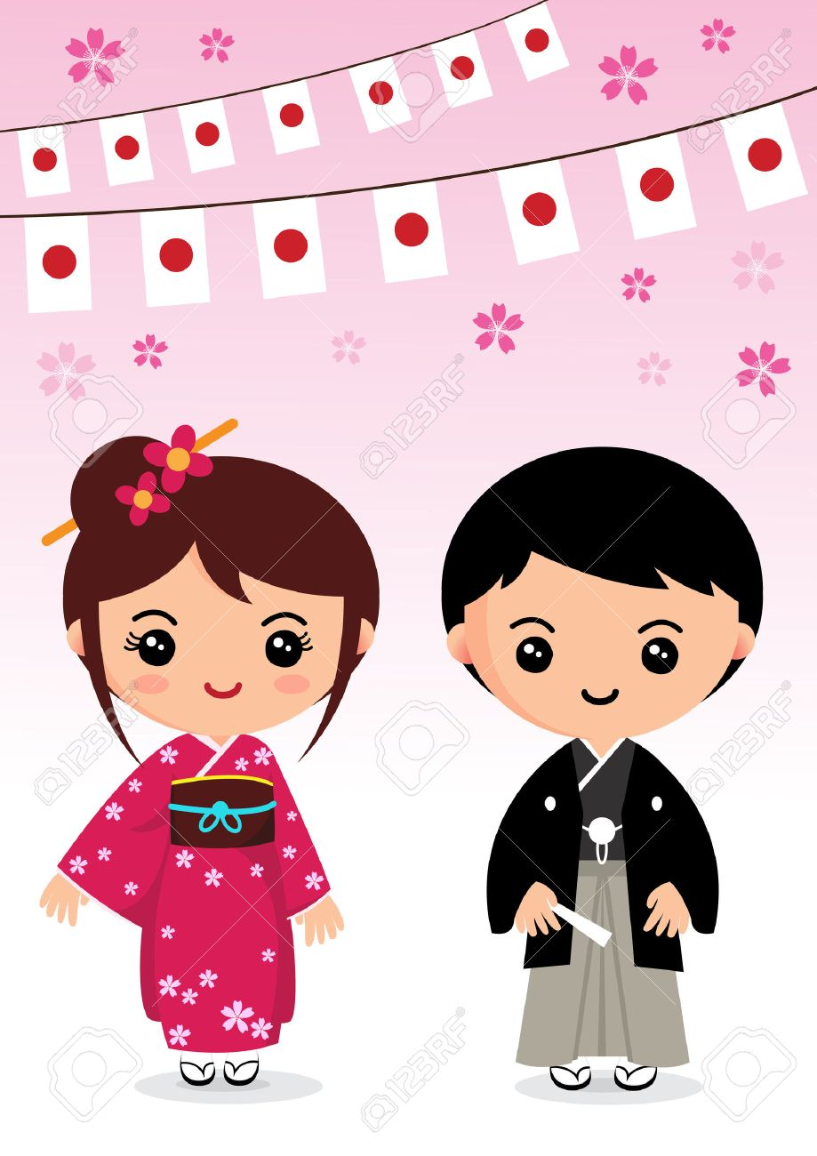 Japon Costume Traditionnel Kimono Dessin Anime Japonais Clip Art