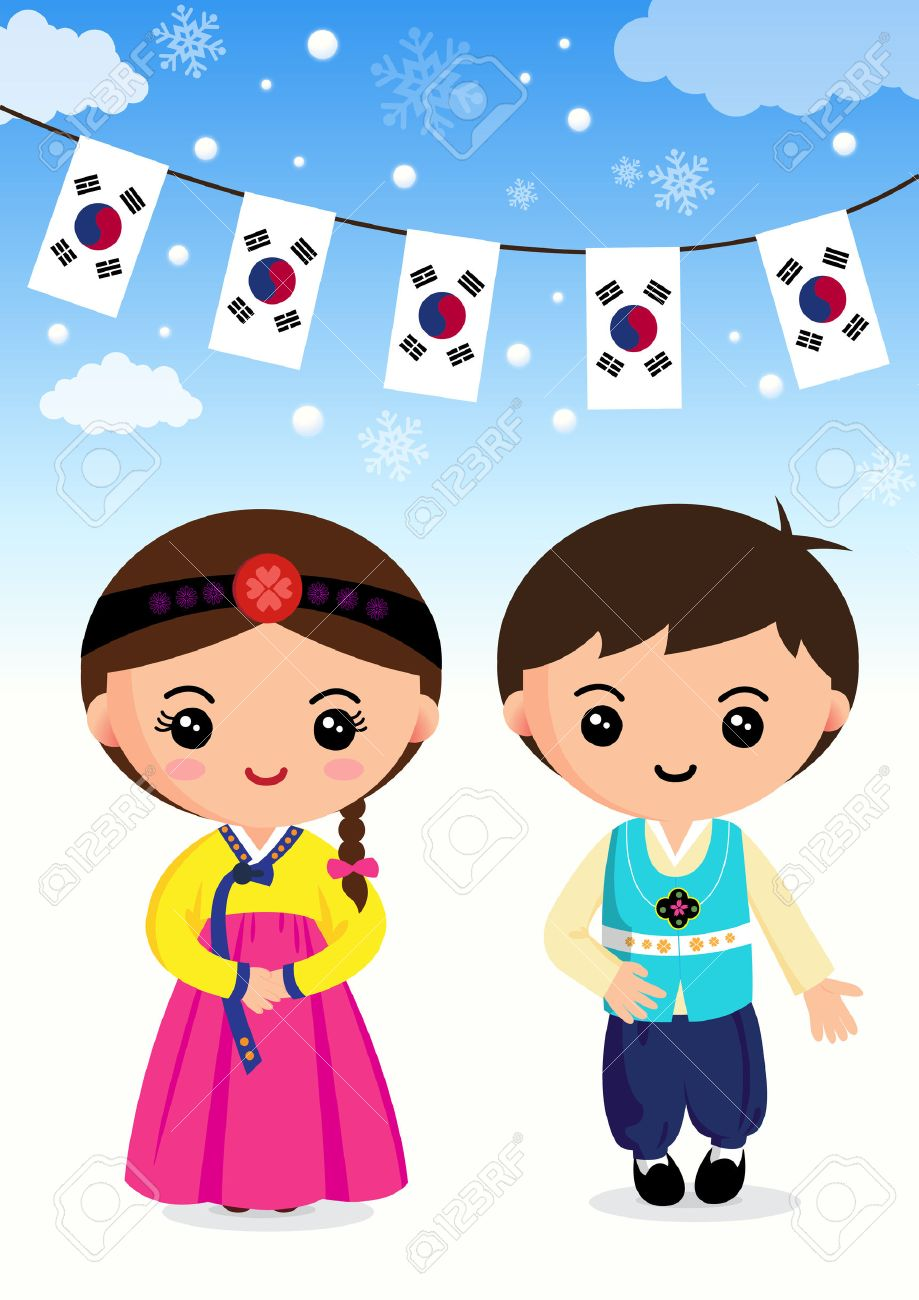 Korean Traditional Costume Boys And Girls Cartoon Asian