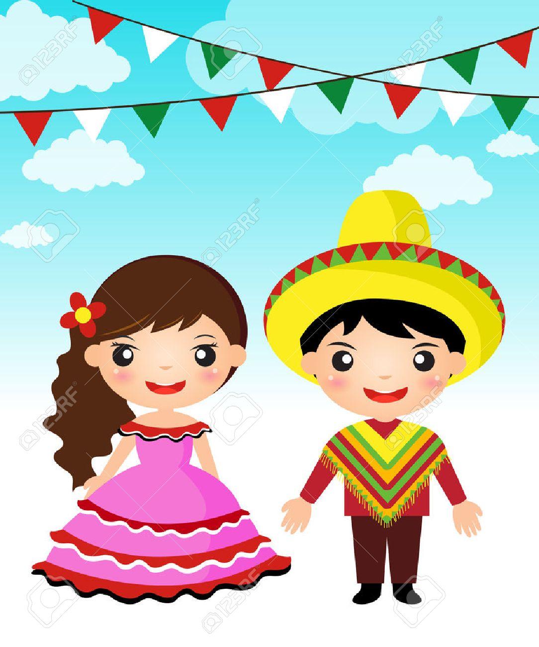 Pareja mexicana de dibujos animados traje tradicional muchacha del muchacho Foto de archivo - 29673817