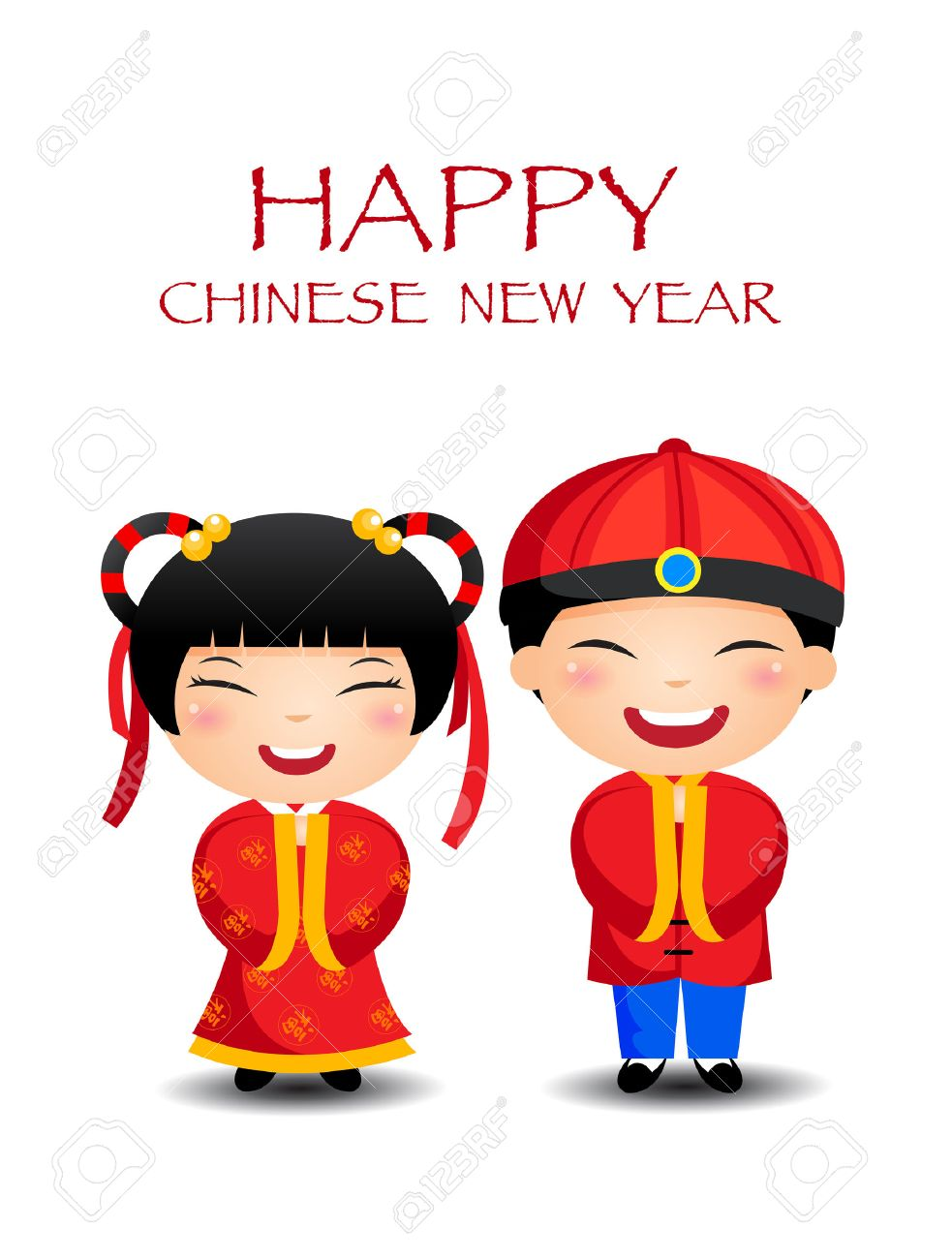 cartoon chinese kids boy girl happy chinese new year stock vector 30898998 - Happy Chinese New Year In Chinese