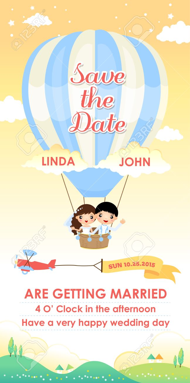 Wedding Invitation Card Template Design Vector Cartoon