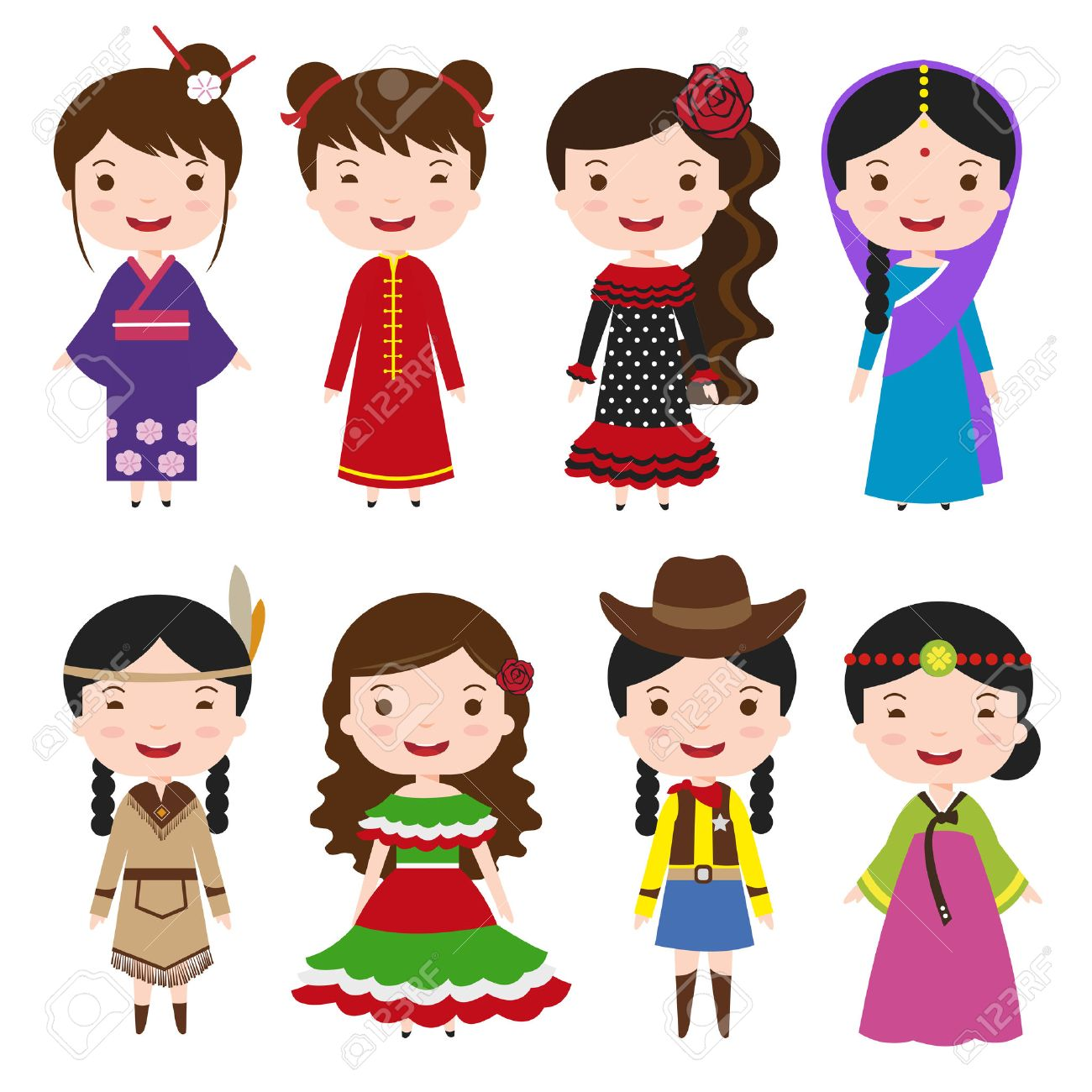 traditional costumes character of the world dress girls in different