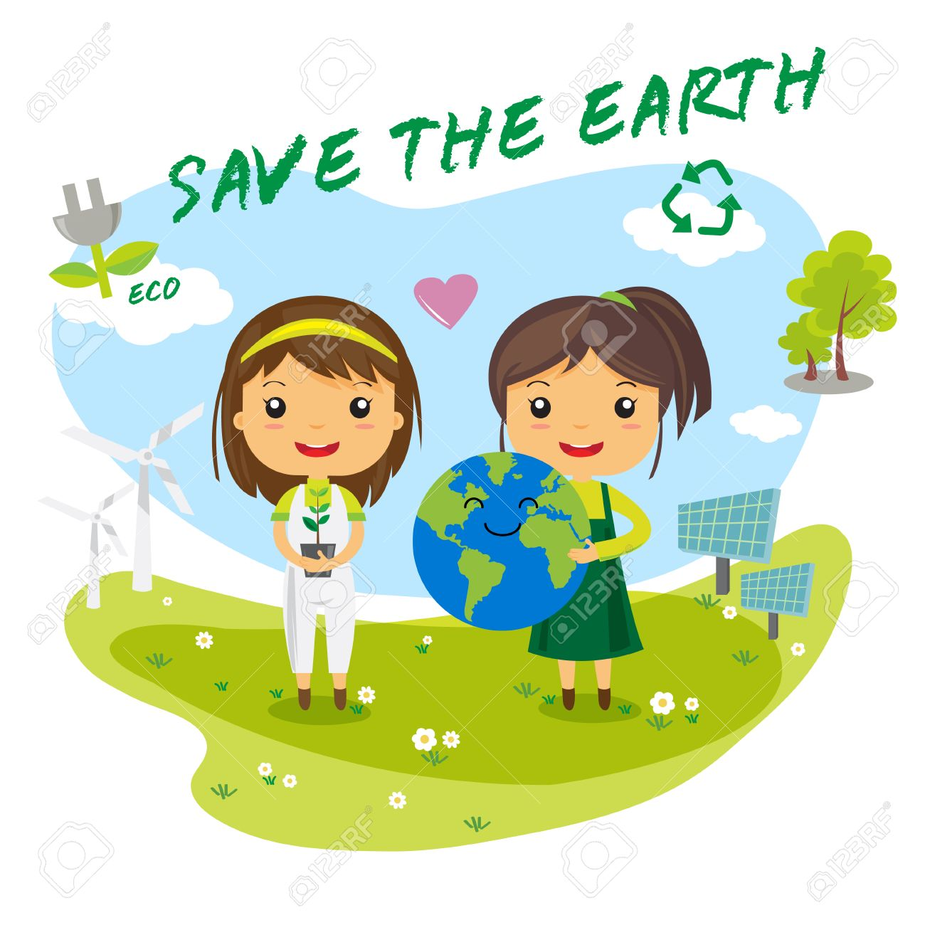 Save The Earth Save The World Ecology Concept Cartoon Character