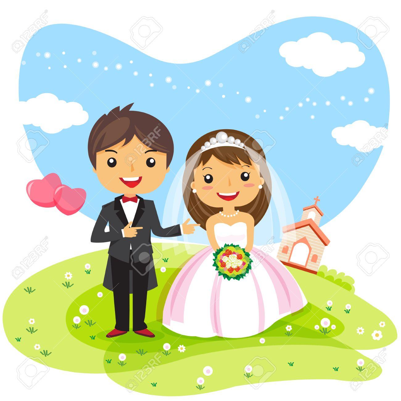 Foto de archivo , Pareja Invitación de boda de dibujos animados, diseño lindo personaje , ilustración vectorial
