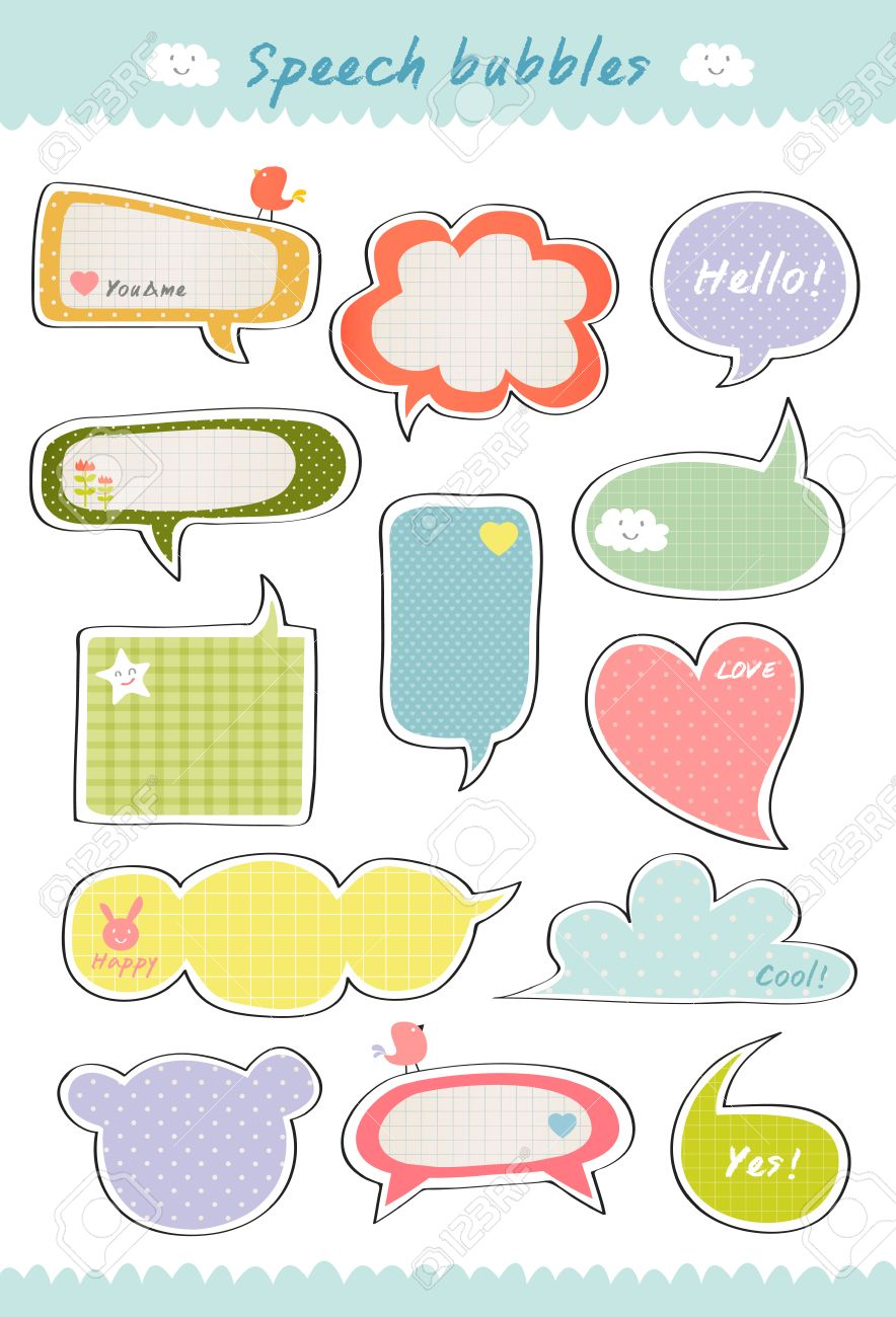 cute speech bubble hand drawn speaking bubbles colorful collection