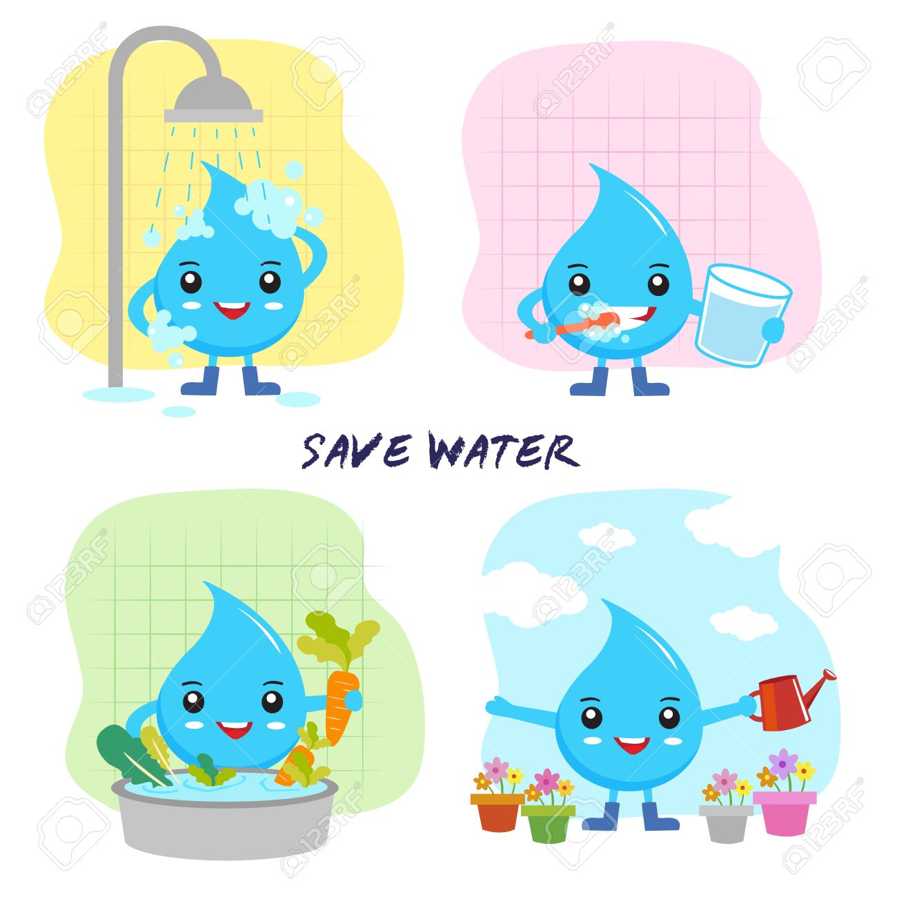save water concept, save the world, cartoon water drops character - 51119850