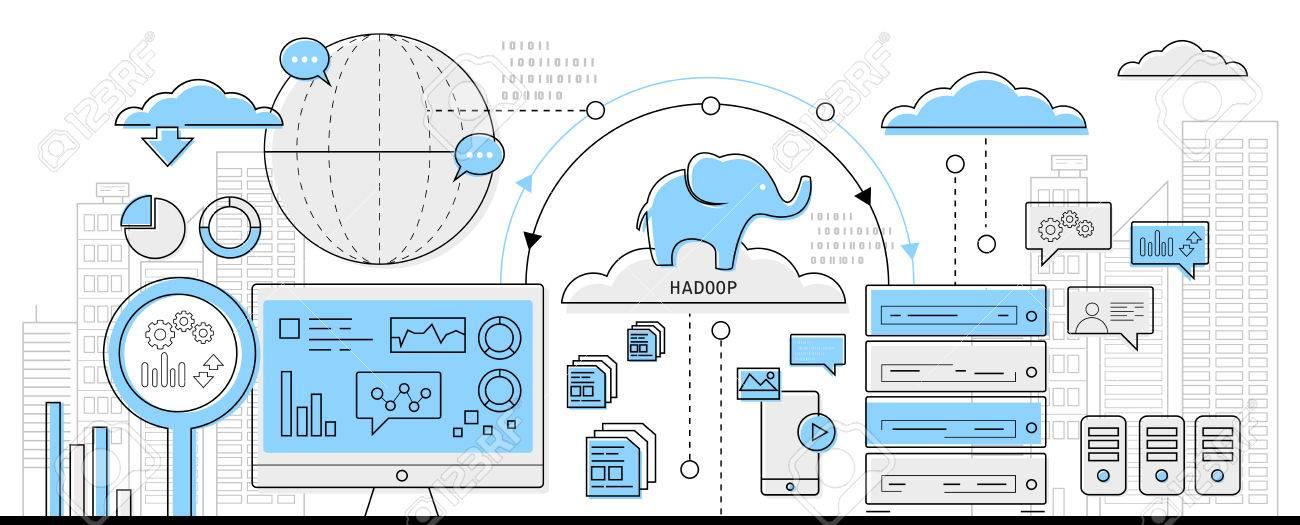 hadoop big data concept, info graphic business line icon - flat design vector - 52775680