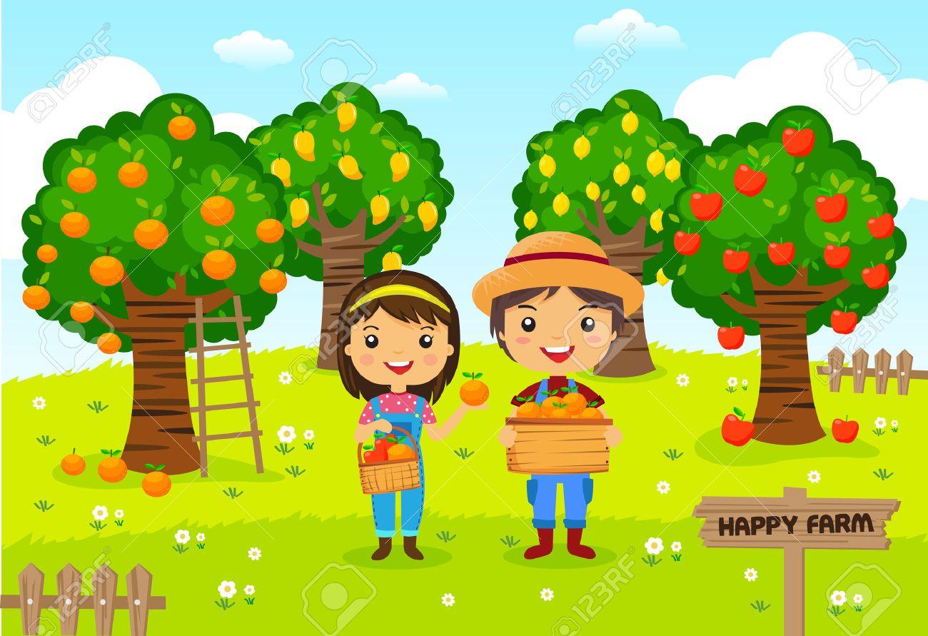 Farmers Working In A Farm, Gardener, Garden Fruit, Cartoon ... for Farm Garden Clipart  111ane