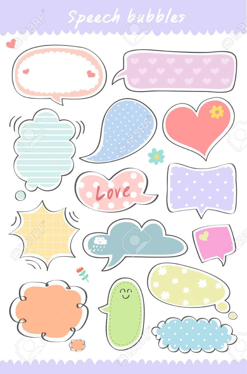 hand drawn cute speech bubble collection speaking text box
