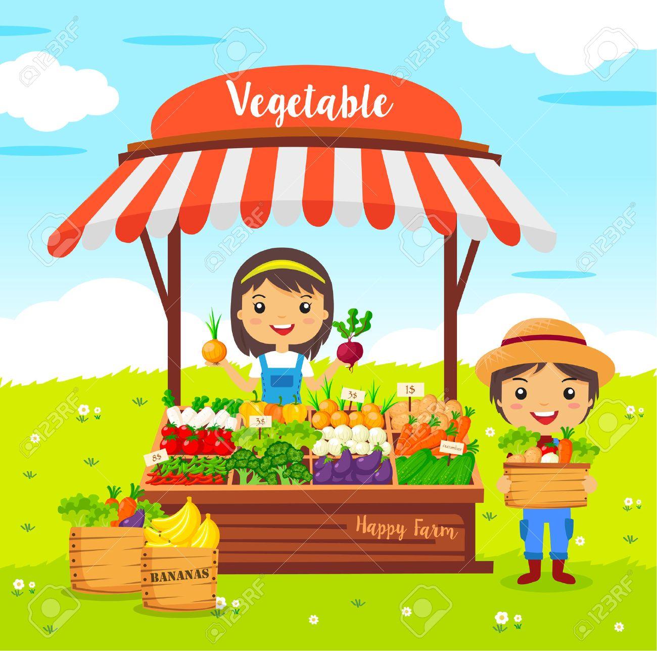 vegetables shop stall, farmers market, cartoon characters vector, Local market farmer vegetables - 59716053