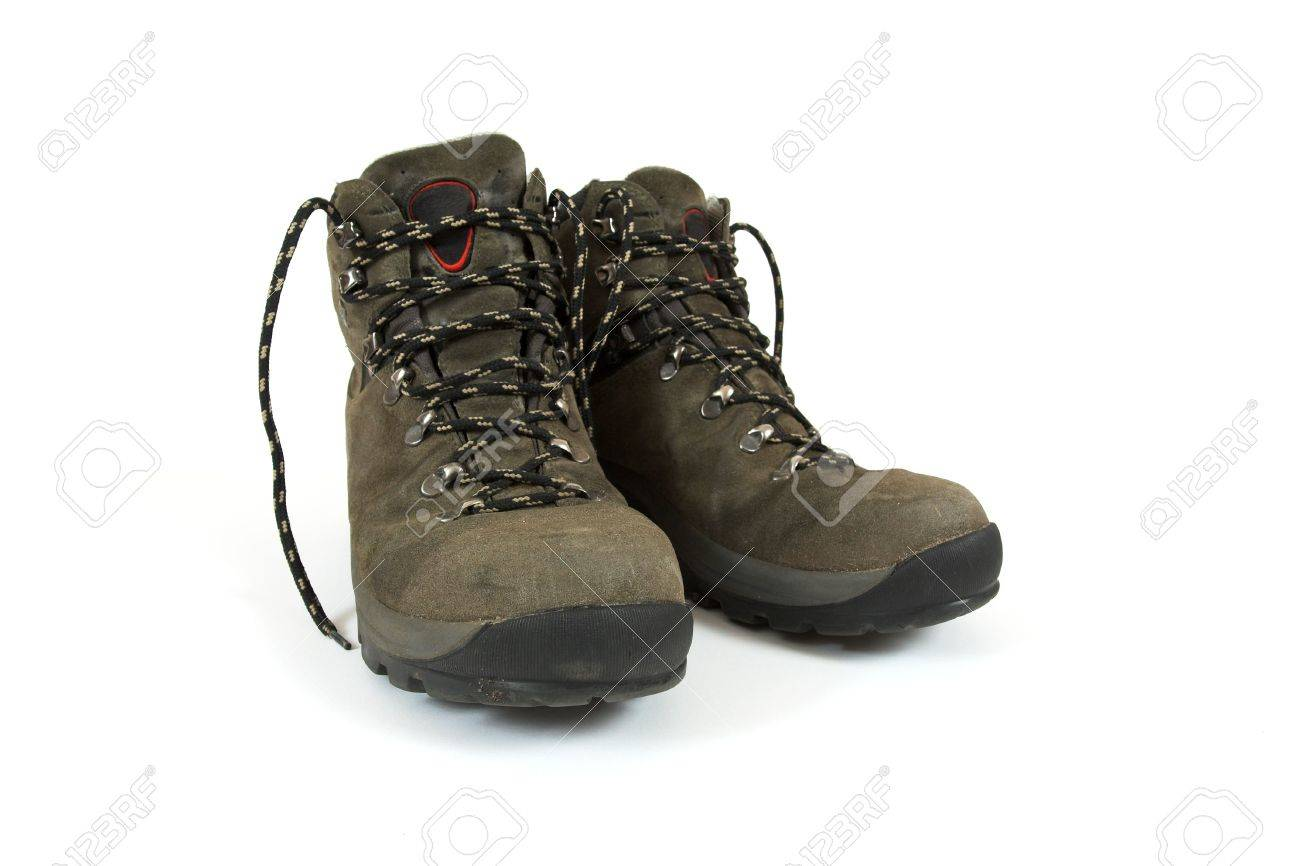 A Pair Of Used Hiking Boots On White Background Stock Photo ...
