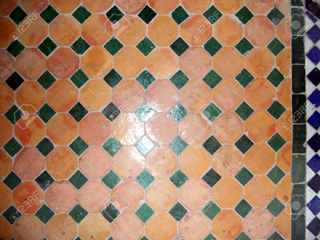 Moroccan tiles, colored floor tiles in a pattern, Morocco Stock Photo - 14810306