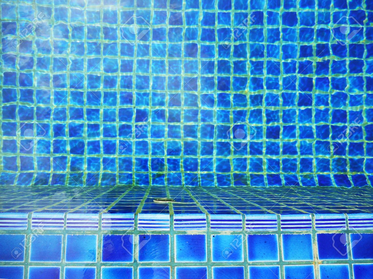 Swimming Pool Tiles, Hand-made Blue Ceramic Tiles In An Outdoor ...