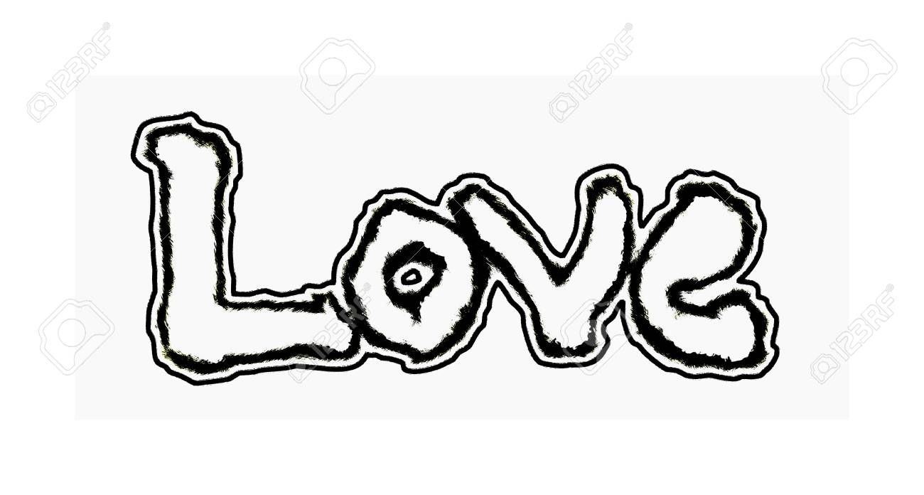 Love Painted The Word Love Hand Painted With Outset Border Artistic Word Love