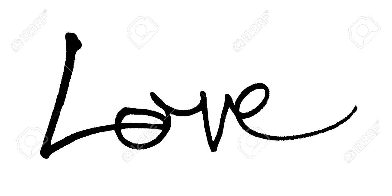 Love Hand Written The Word Love Written By Hand Artistic Word Love