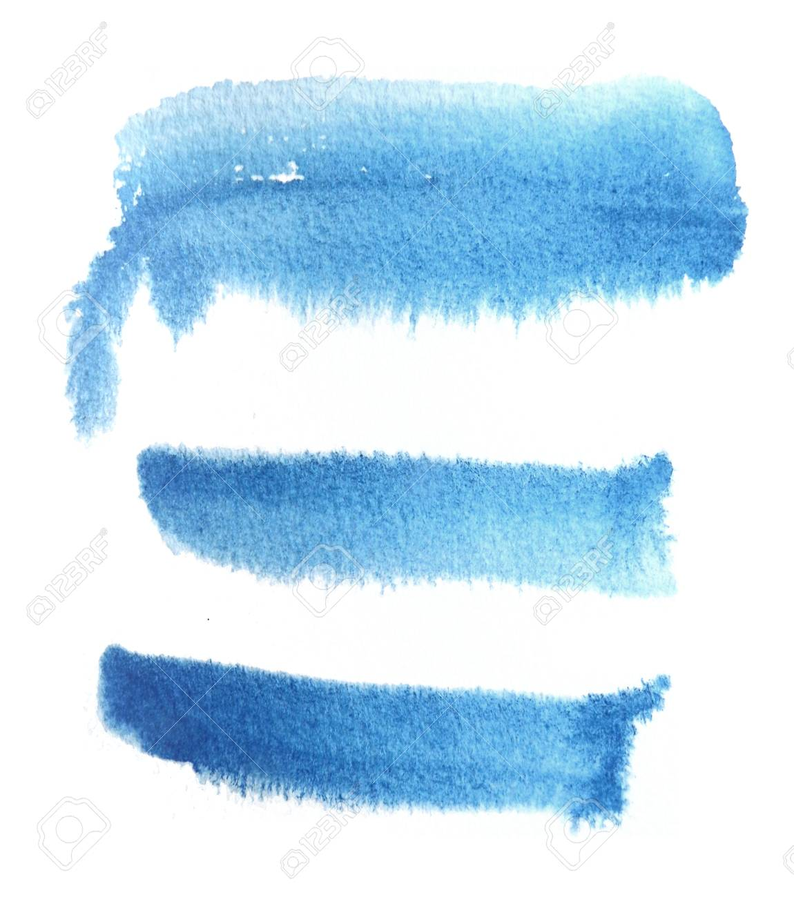 3 rough brush strokes in blue semi transparent water based paint