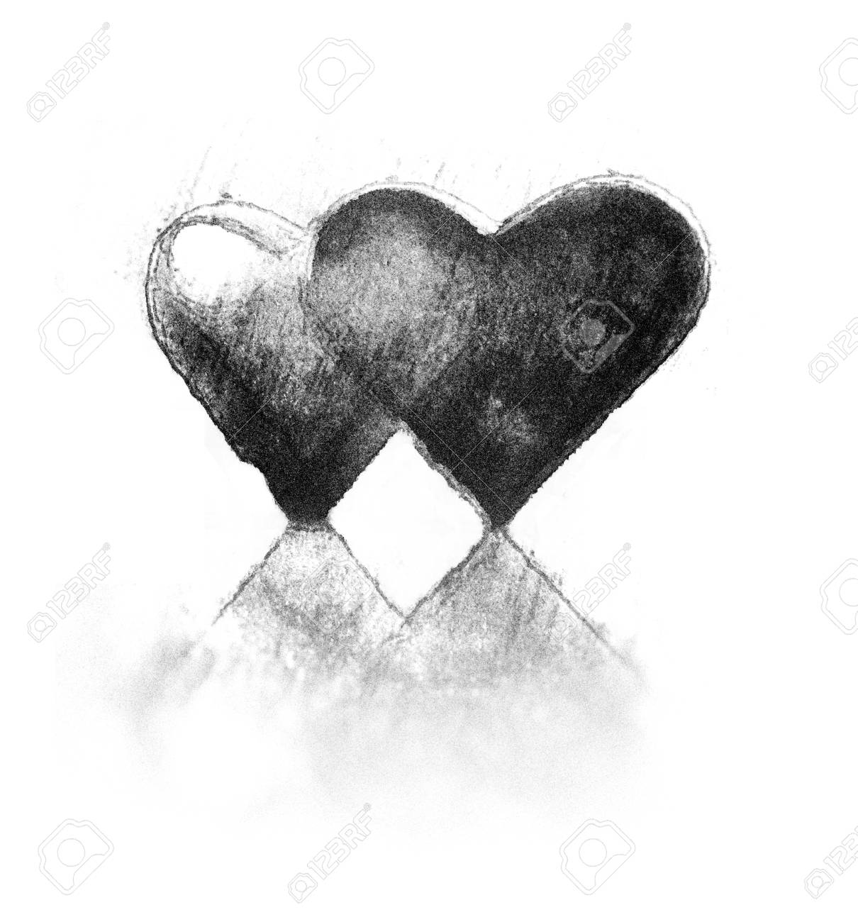 a pair of 3d heart shapes rough sketch style two hearts close