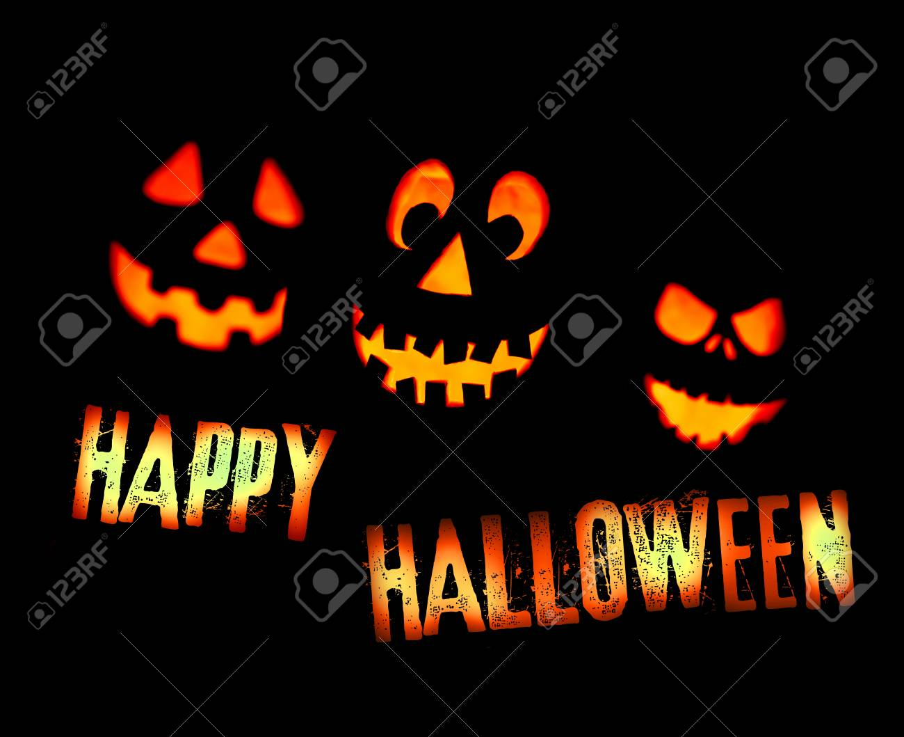 Superior Happy Halloween Card With Scary Pumpkin Faces And Lettering Saying Happy  Halloween, Yellow And Red