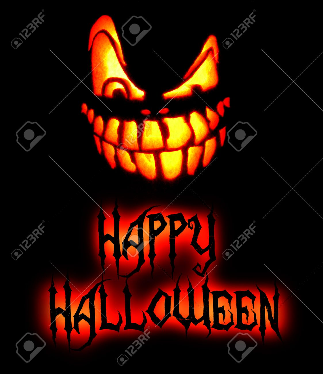 Happy Halloween Card With Scary Pumpkin Face And Black Lettering Saying  Happy Halloween, Yellow And