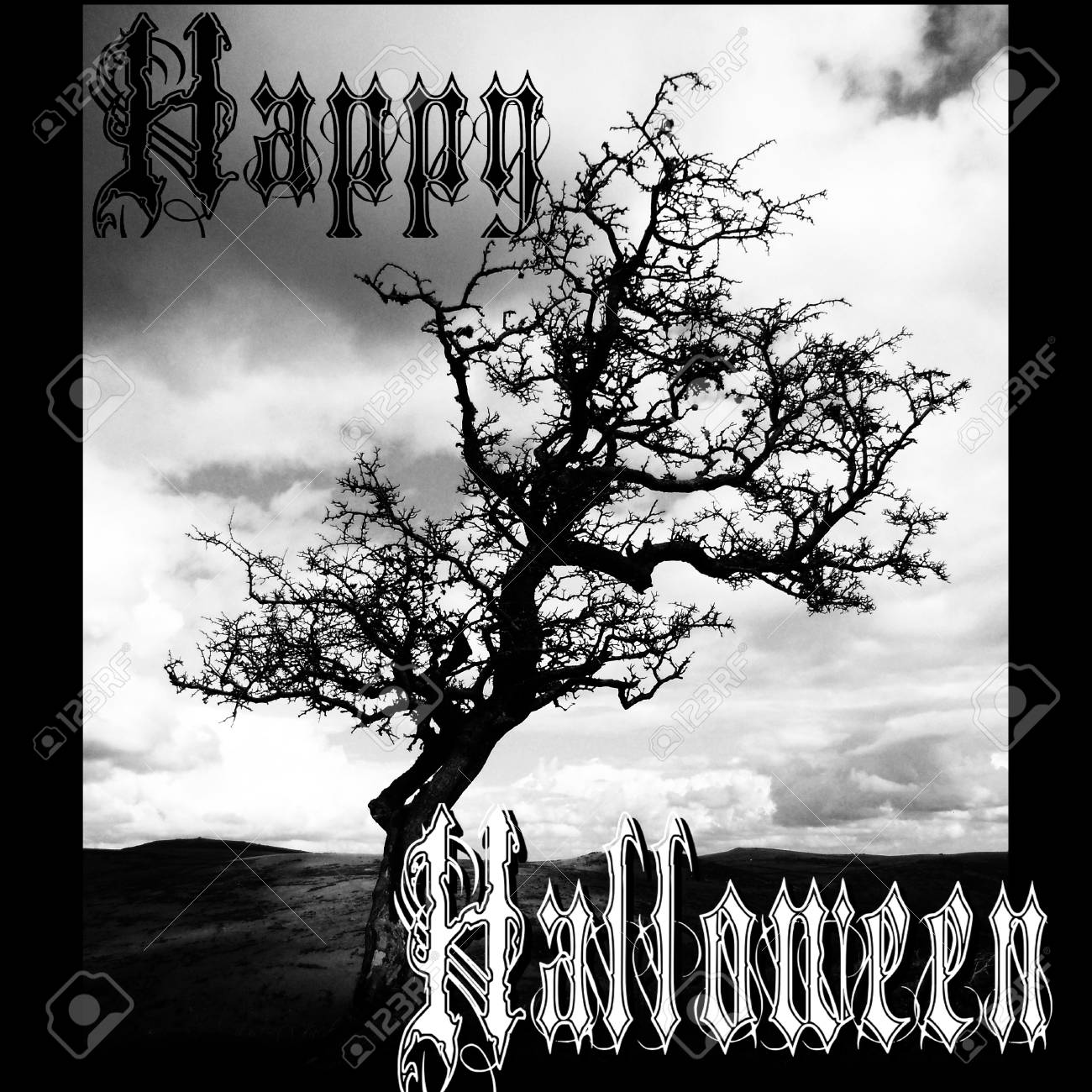 Happy Halloween Card With Dead Tree In Landscape, And Gothic Lettering Saying  Happy Halloween,