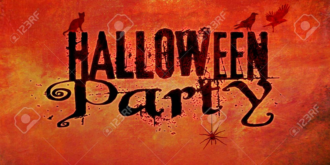 Halloween Party Invite With Cat, Crows And Spider And Wording ...