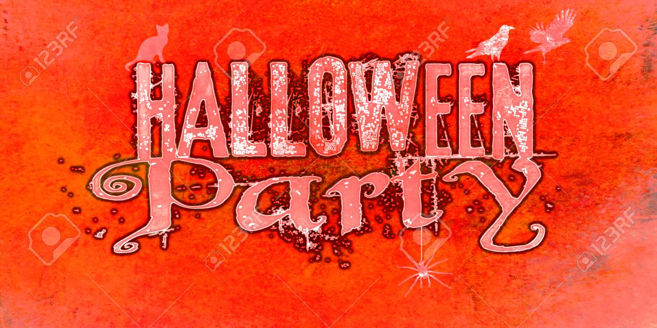 Halloween Party Invite With Cat, Crows And Spider And Pale Wording ...