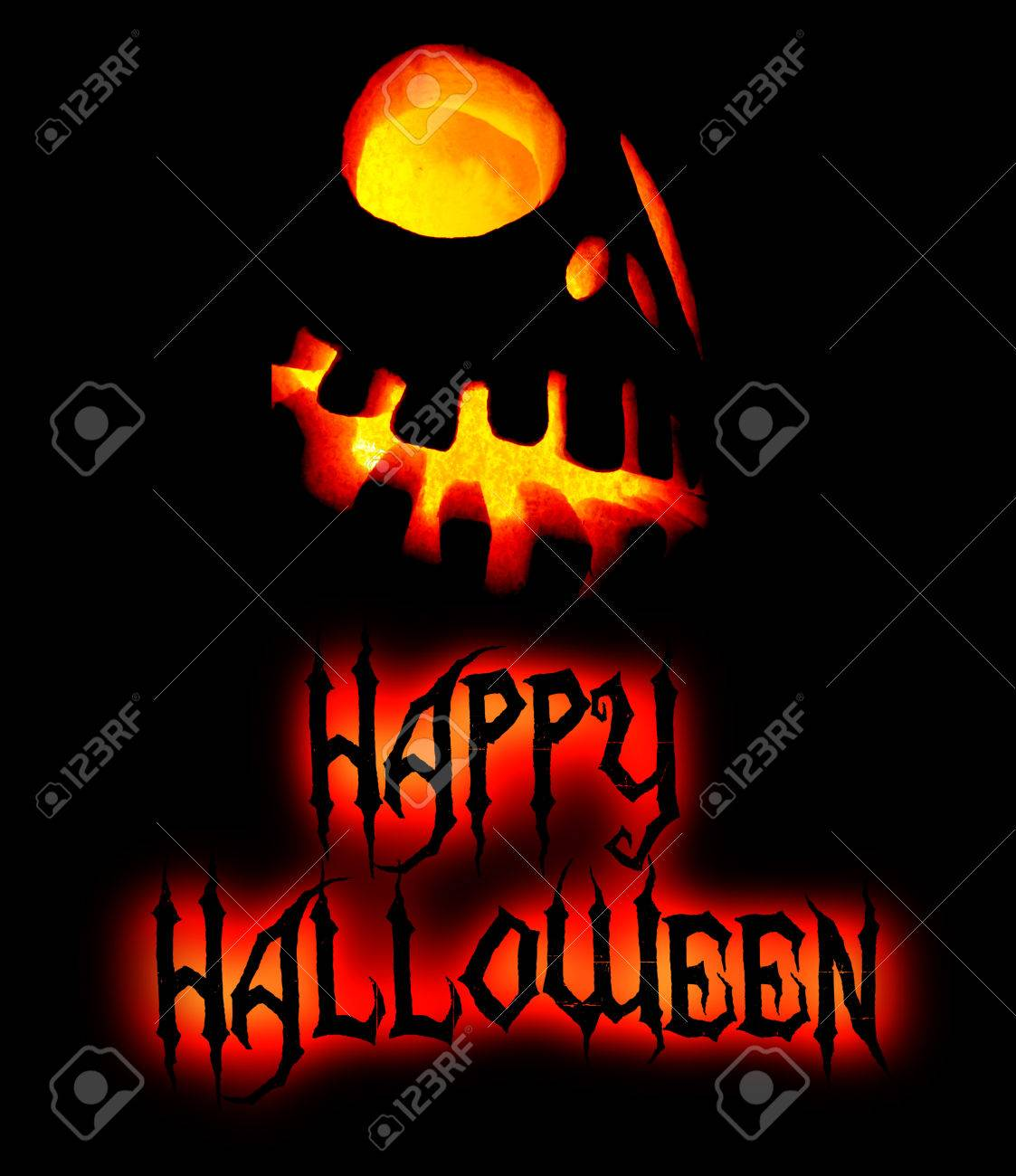 Delightful Happy Halloween Card With Scary Pumpkin Face And Black Lettering Saying  Happy Halloween, Yellow And