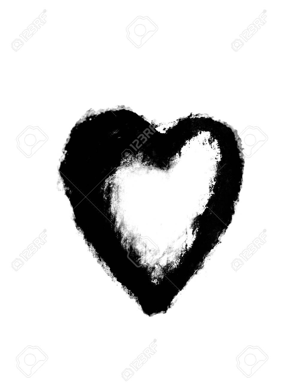 Messy heart sketch a heart shape roughly sketched in charcoal