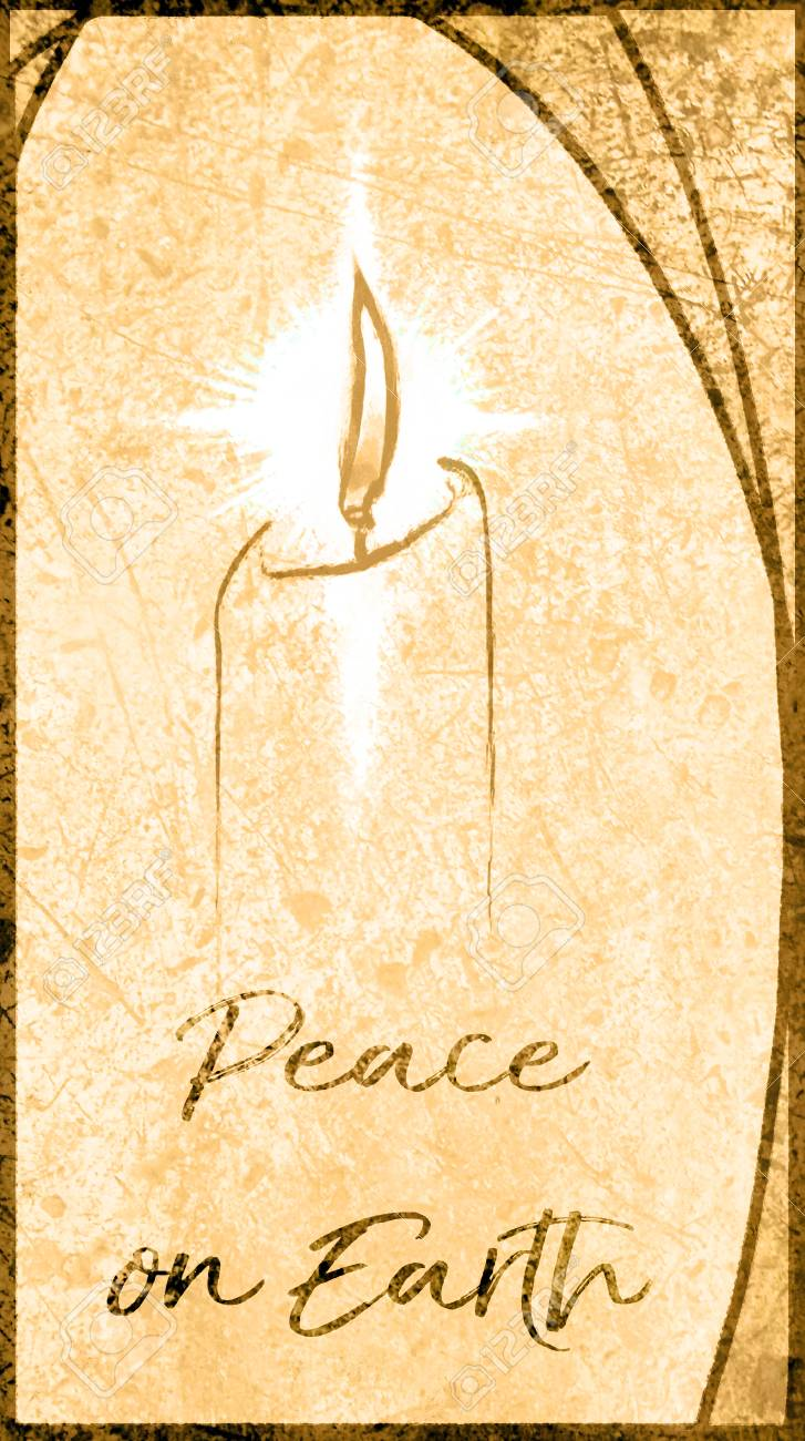 Christmas Card With A Candle And The Words Peace On Earth, In ...