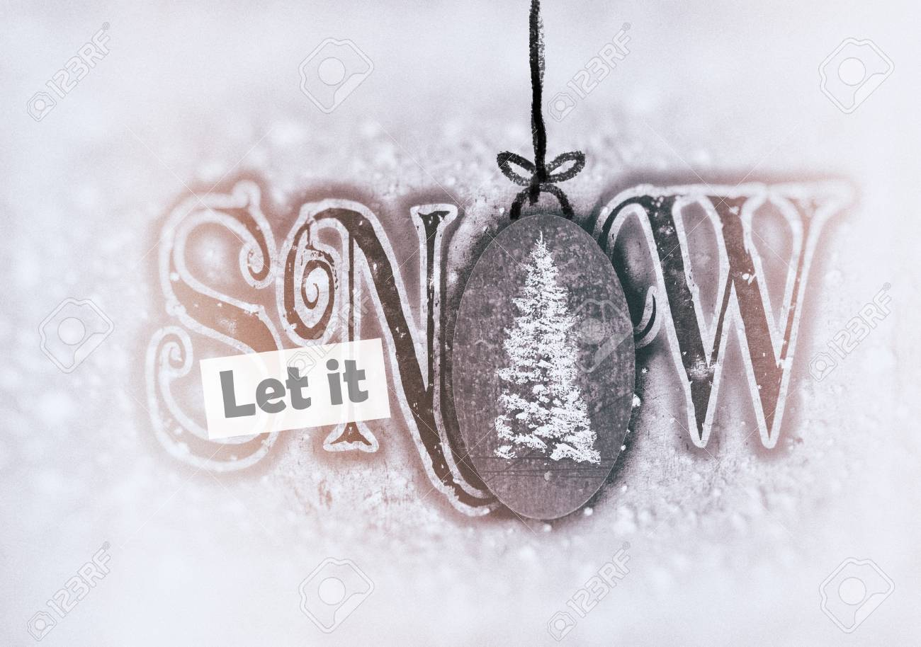 Christmas Card With The Words Let It Snow, In Contemporary Fonts ...