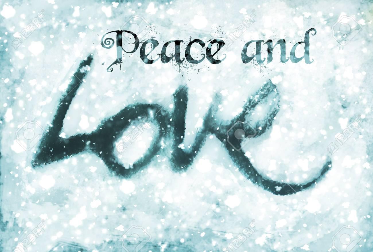 Carte De Noël Avec Les Mots Paix Et Amour Avec Le Croquis De Lettrage Damour Peint Teintes Bleues