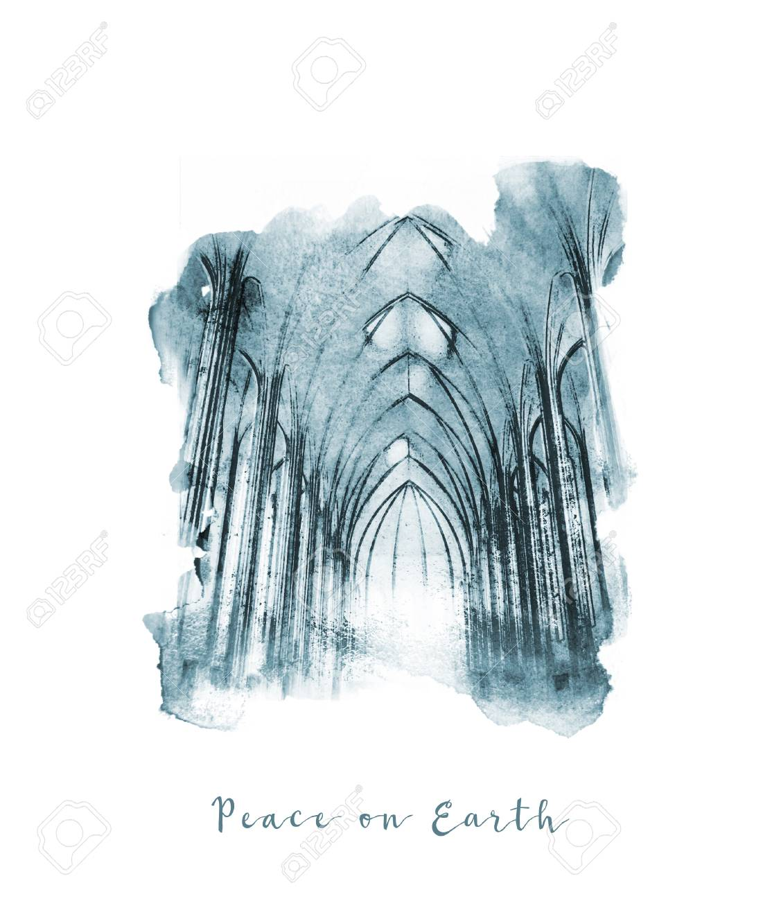 Christmas Card With The Words Peace On Earth, With The Watercolor ...