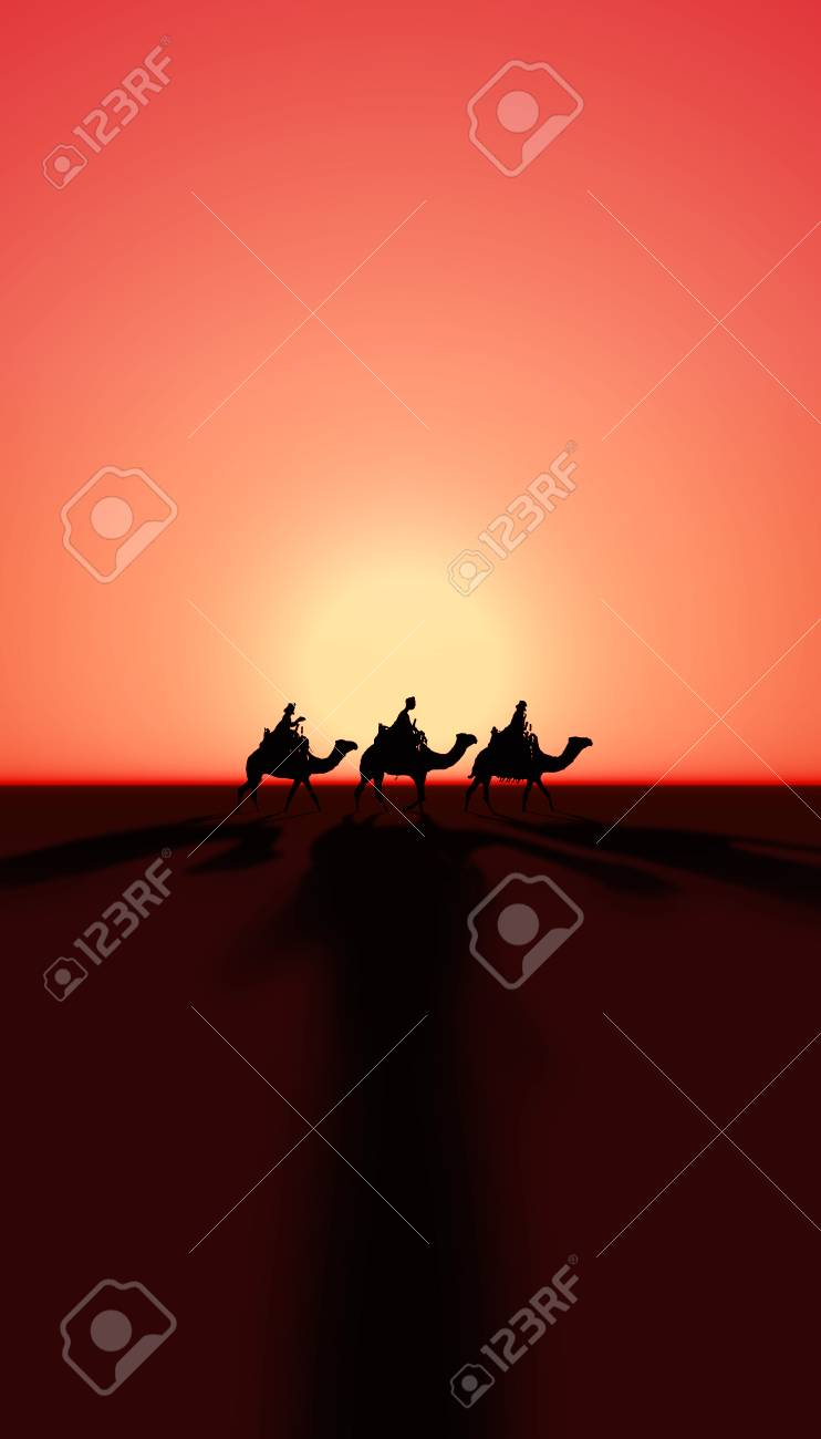 Three Kings Christmas Card With The 3 Wise Men On Camels Sunset And Realistic Shadows