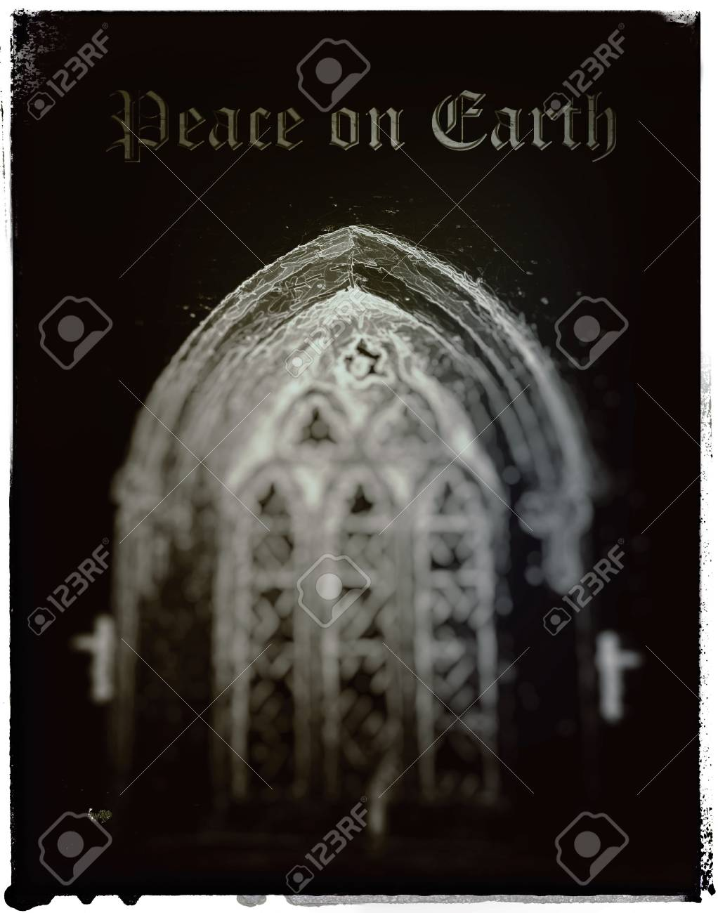 Christmas card with light through a beautiful old church window