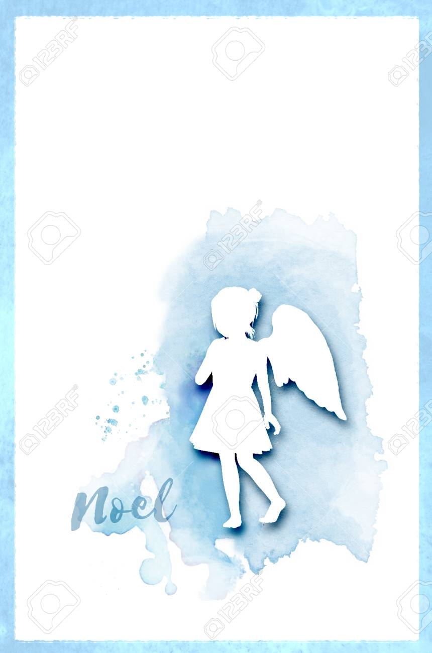 Angel Noel Christmas Card With A Girl Angel Silhouette Against