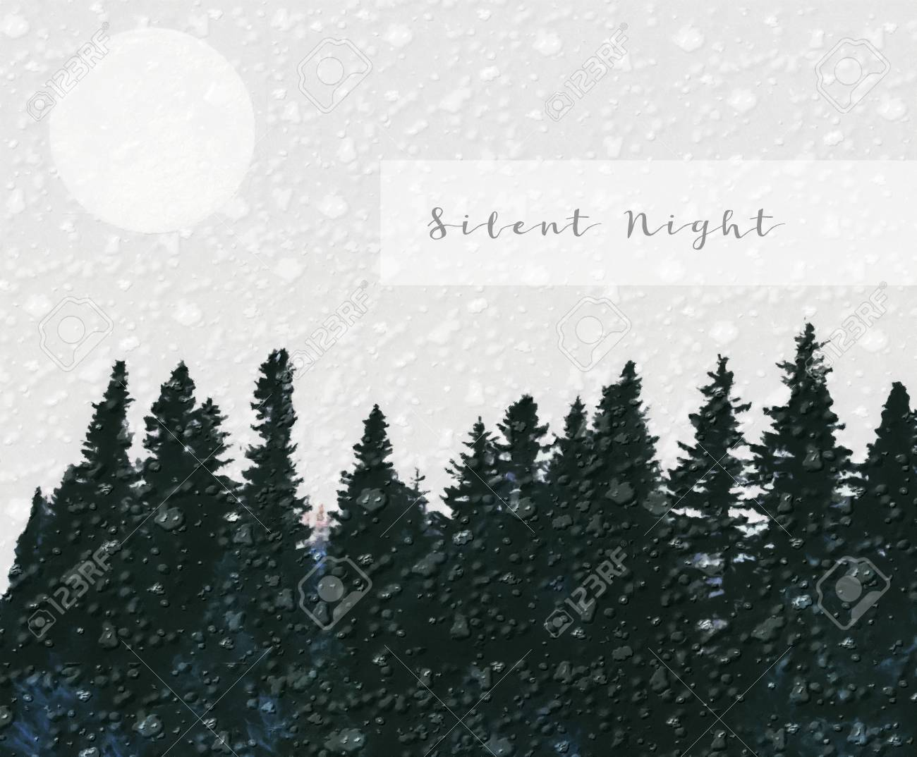 Simple Christmas design with a conifer forest, snow, moon and