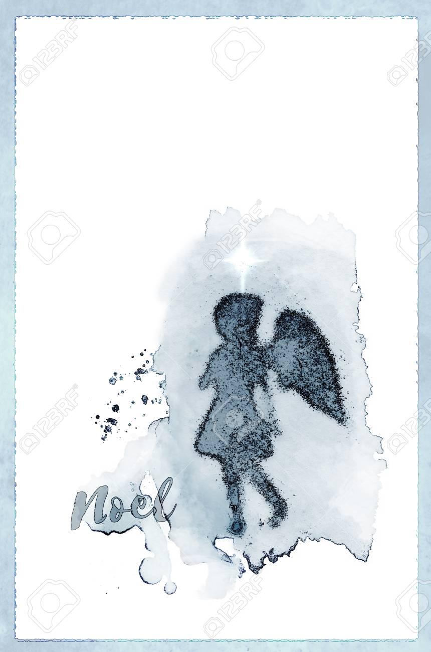 Angel Noel Christmas Card With A Girl Angel Shadow Against